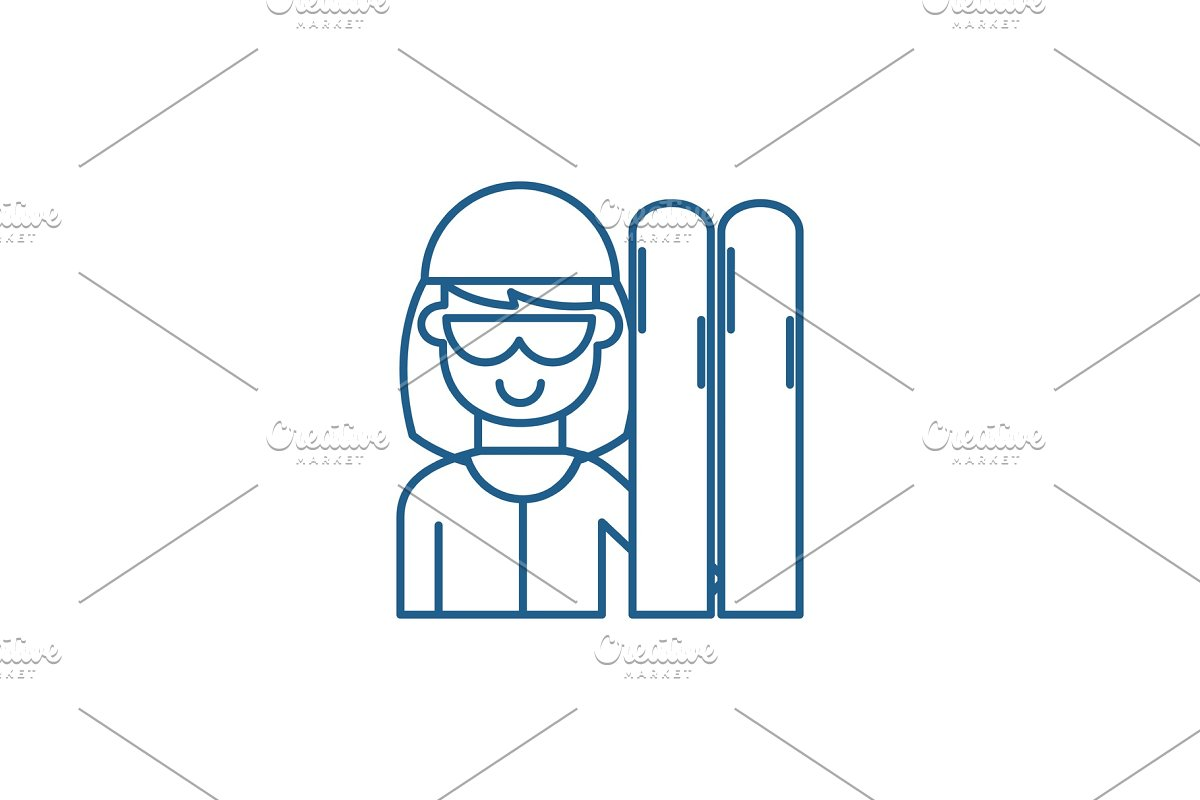 Skier line icon concept. Skier flat in Illustrations - product preview 8