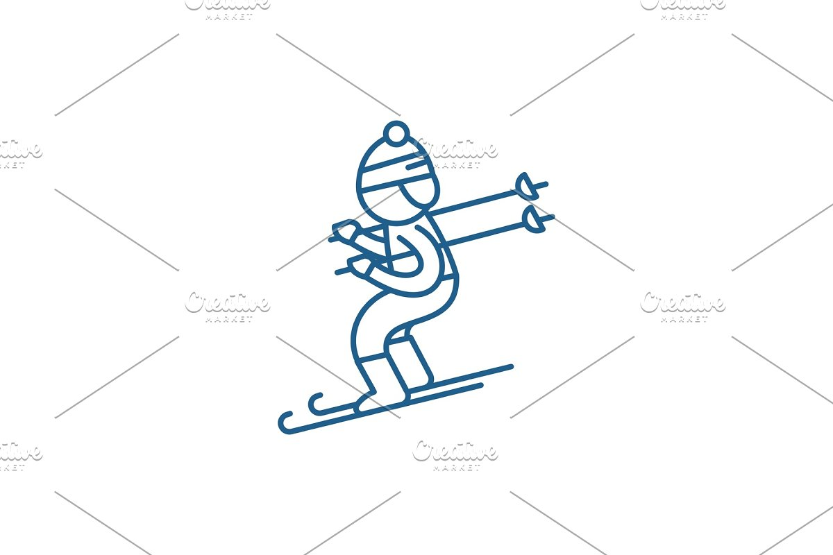 Skiing line icon concept. Skiing in Illustrations - product preview 8