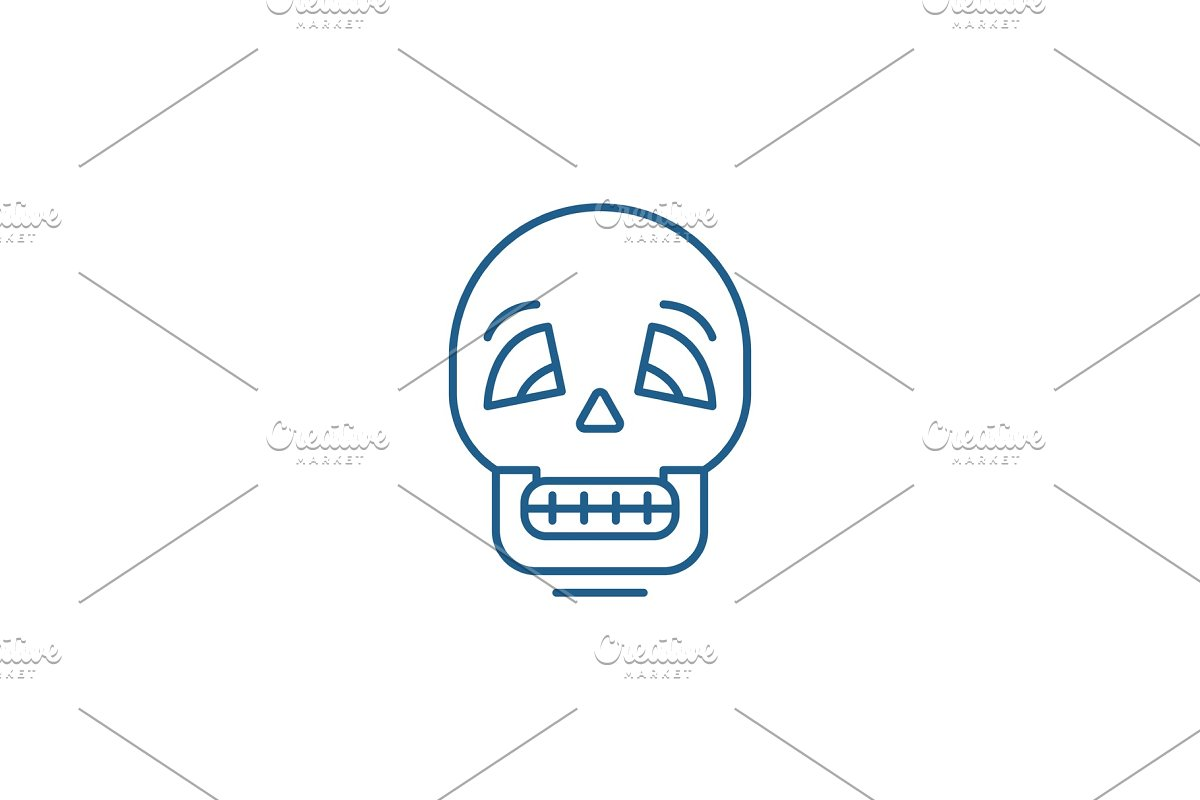 Skull line icon concept. Skull flat in Illustrations - product preview 8
