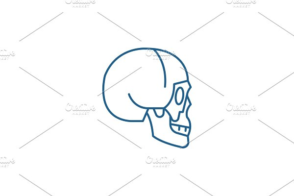 Skull side view line icon concept