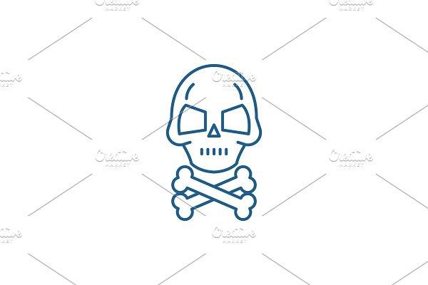 Skull with bones line icon concept