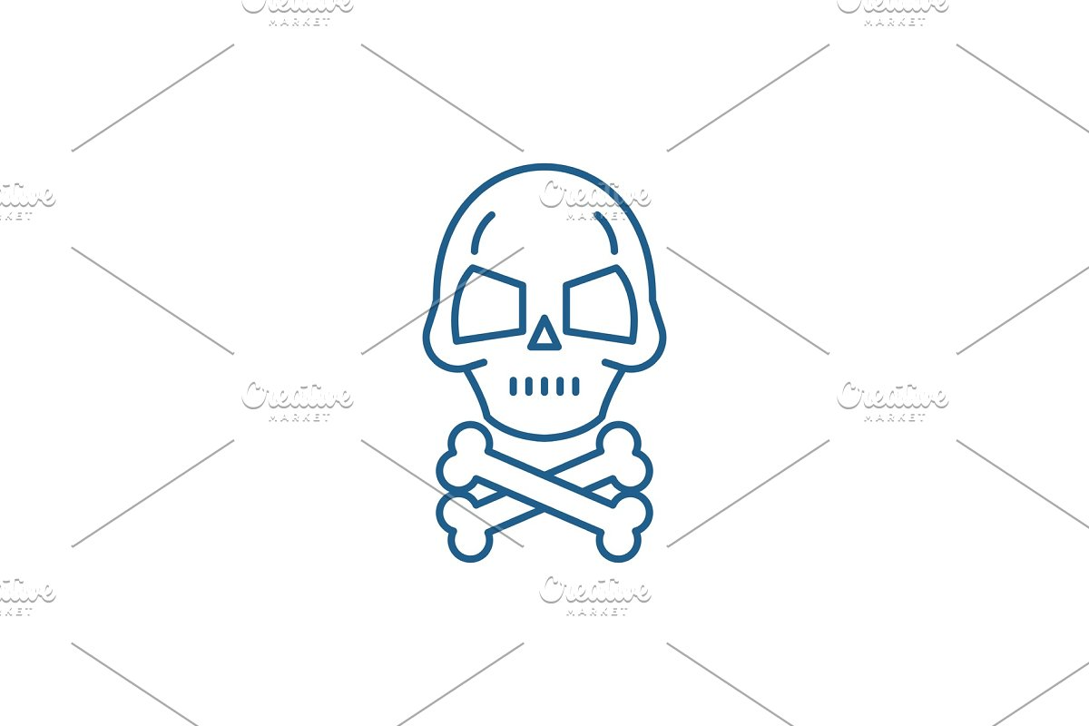 Skull with bones line icon concept in Objects - product preview 8