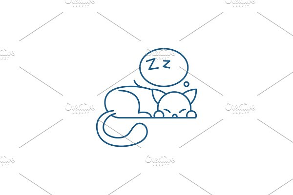 Sleeping cat line icon concept