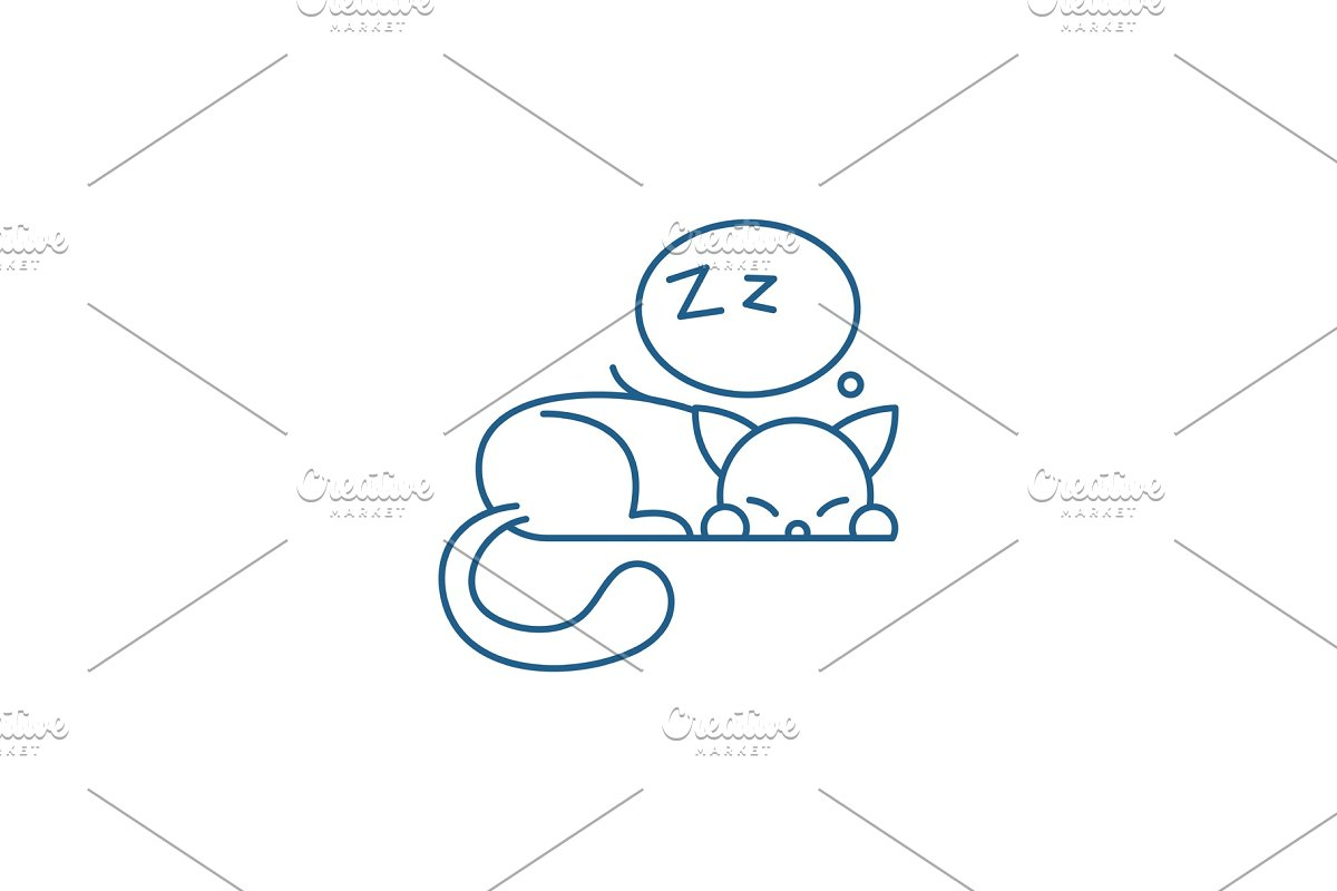 Sleeping cat line icon concept in Illustrations - product preview 8