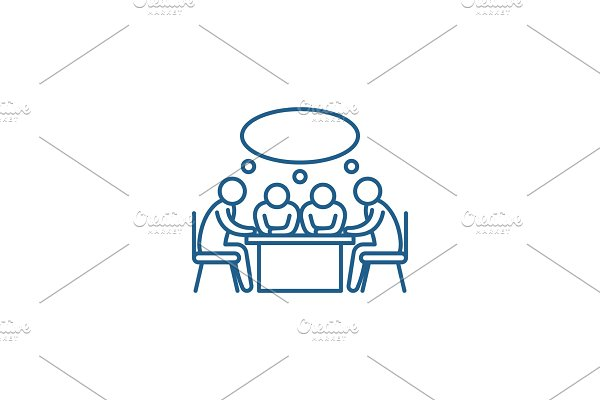 Small business meeting line icon