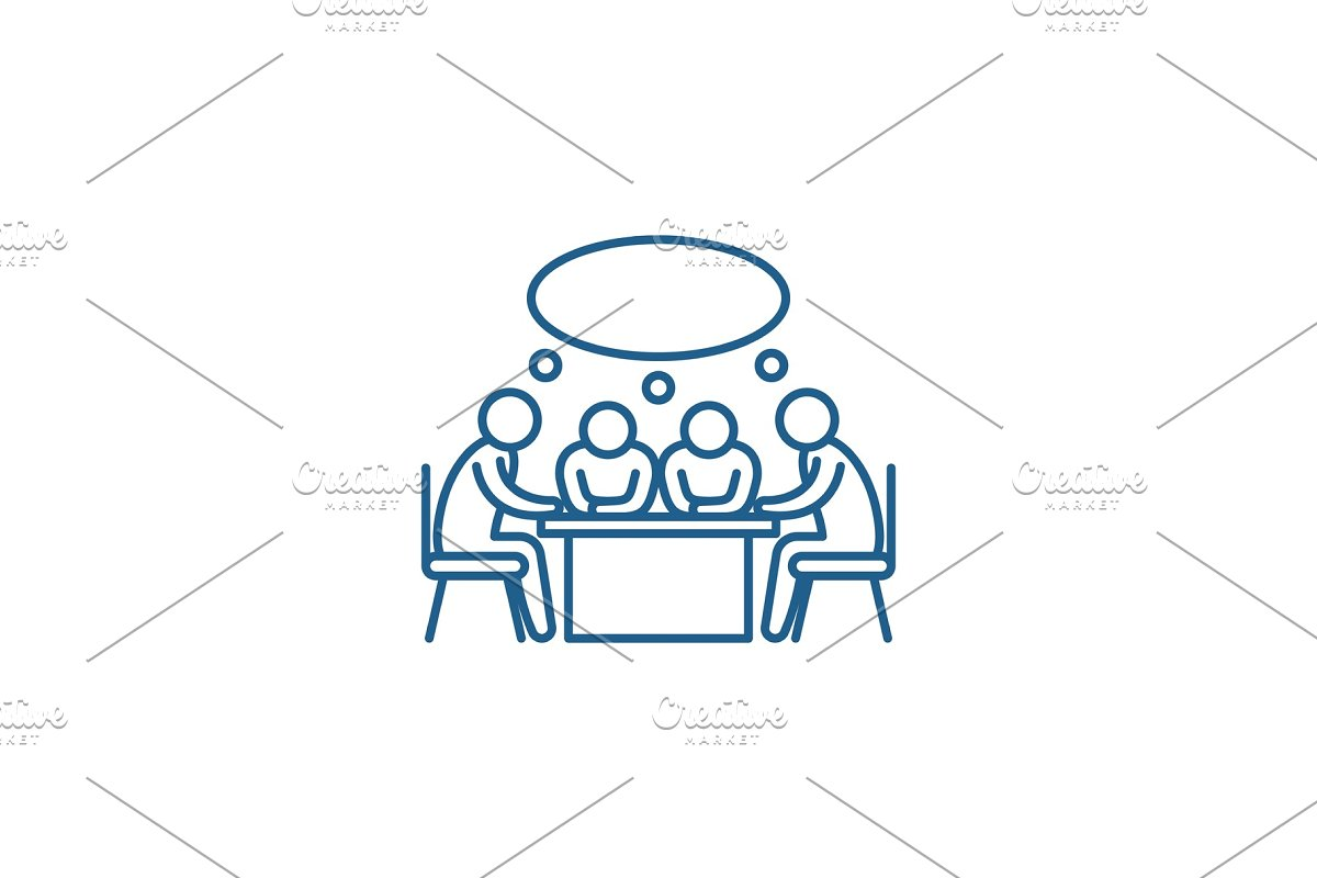 Small business meeting line icon in Illustrations - product preview 8