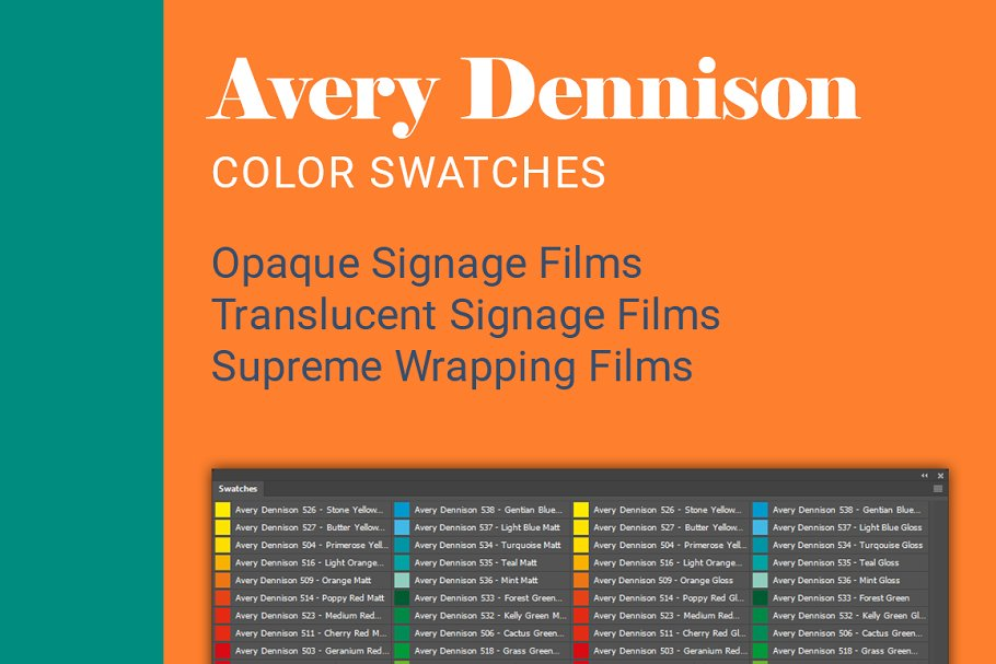 Avery Dennison Color Swatches ~ Illustrator Color Palettes
