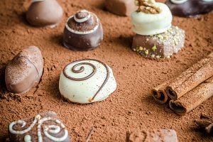 Luxury chocolate candies with cocoa