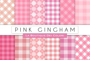 Pink Gingham Digital Paper