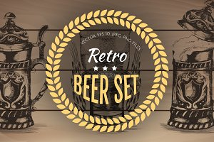 Hand drawn retro beer set