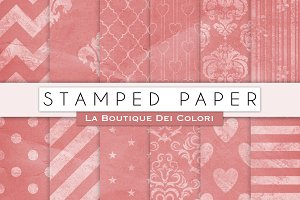 Pink Stamped Digital Papers