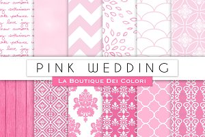 Pink Wedding Digital Paper