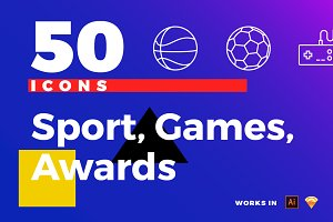 50 Sport, Games, Awards Icons Pack