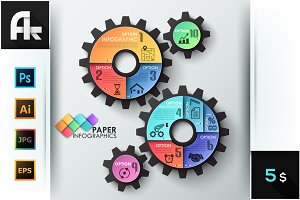 Paper Infographic Gear Template