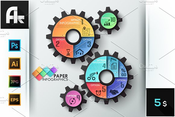 paper infographic gear template presentation templates creative