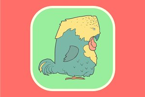Hand drawn vector retro cartoon bird