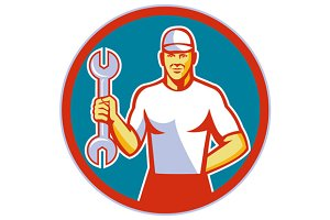 Mechanic Holding Wrench Circle Retro