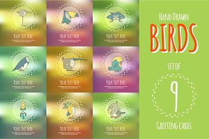Set of hand drawn vector cards birds