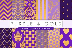 Purple & Gold Digital Paper