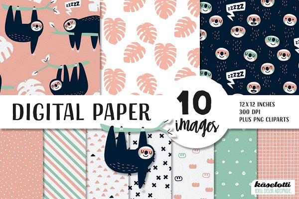 Graphic Patterns: kaeselotti - Sloth pink Digital Paper and Clipart