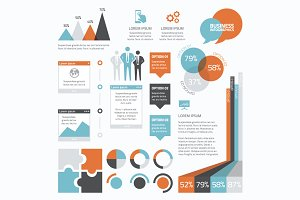 Retro flat business infographics