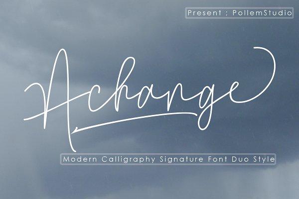 Script Fonts: Polem - Achange Font Duo