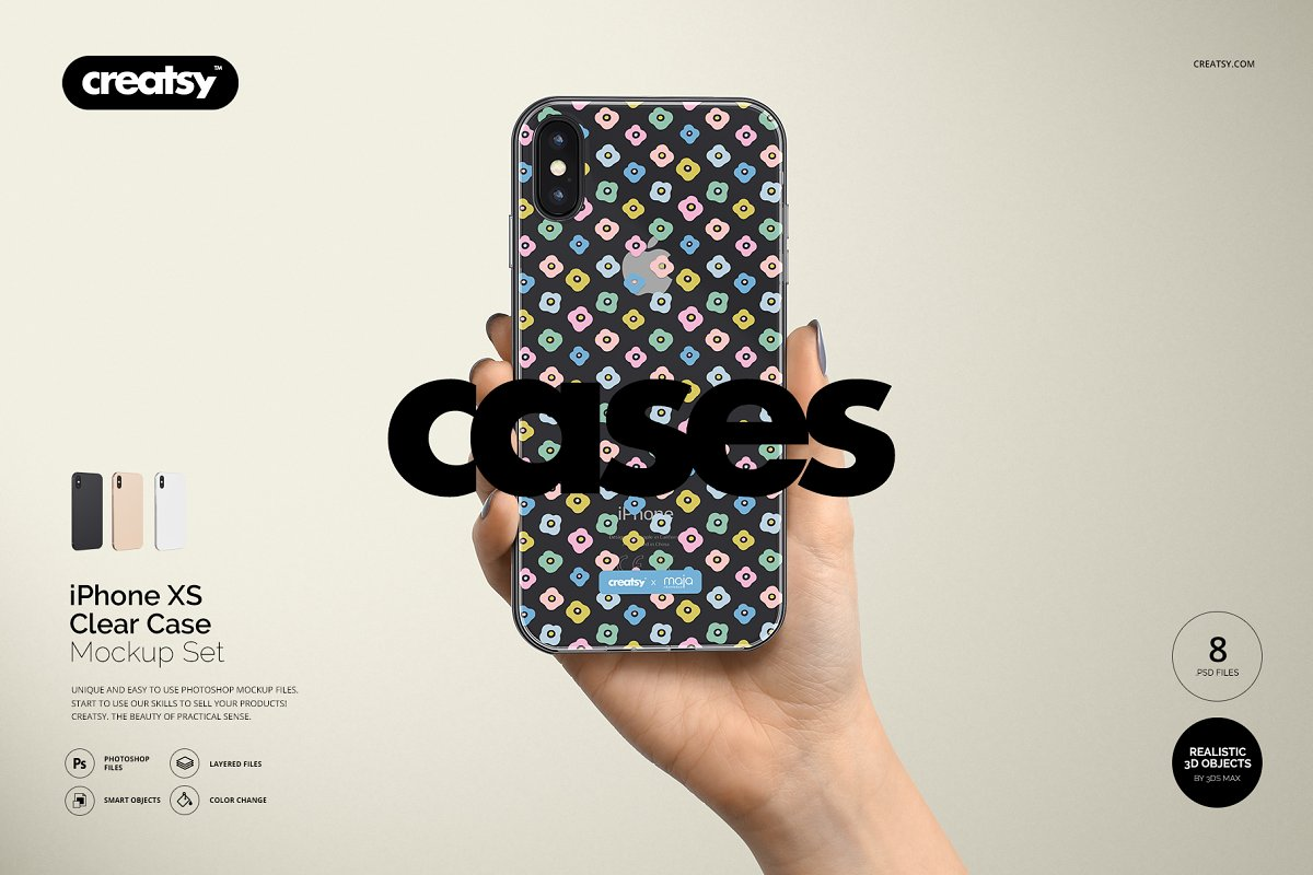 iPhone XS Clear Case Mockup Set ~ Product Mockups ~ Creative Market
