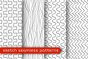 Sketch seamless pattern set