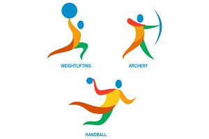 Archery Weightlifting Handball Icon