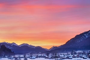 Colorful winter sunset in Alps
