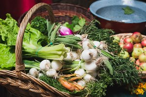 Fresh vegetables in rustic basket