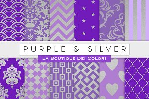 Purple & Silver Digital Papers