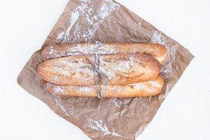 Freshly backed baguettes
