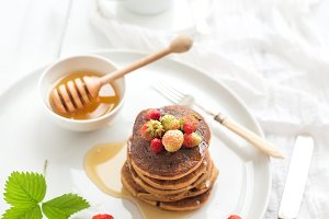 Buckwheat pancakes with strawberries