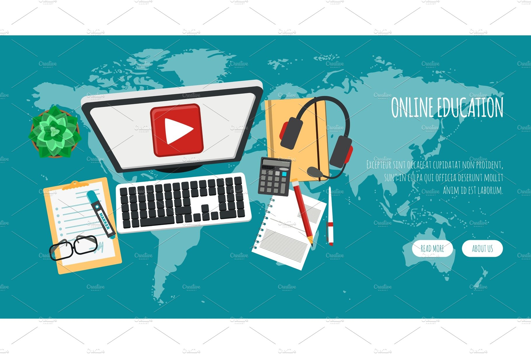 Distance Education Banner Online Pre Designed Vector Graphics Creative Market