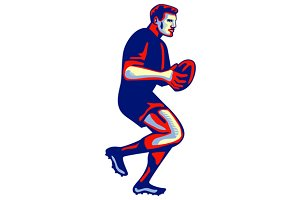 Rugby Player Running Passing Ball Re