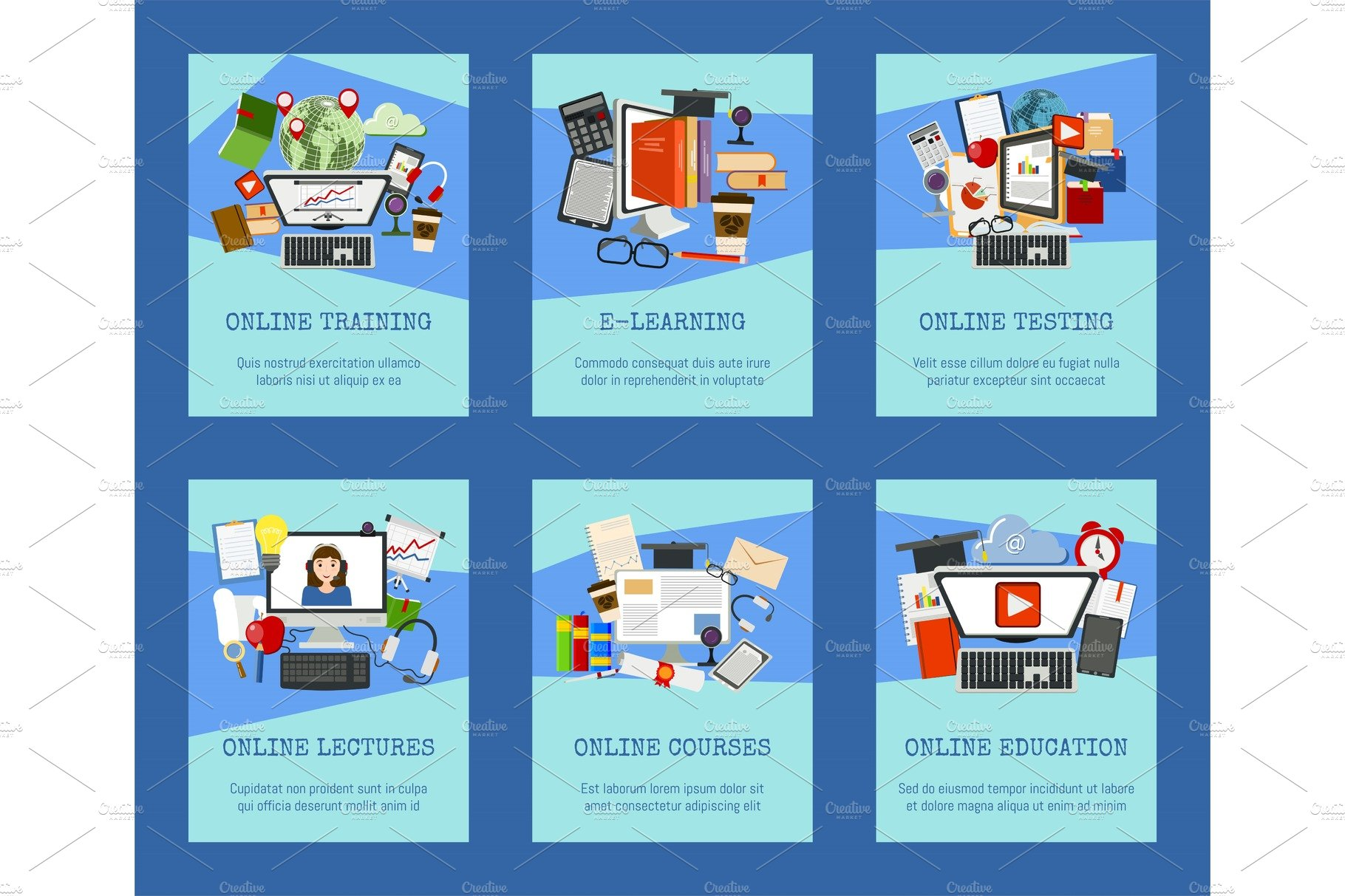 Distance Education Set Of Cards Pre Designed Vector Graphics Creative Market