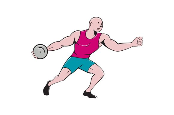 Discus Thrower Side Isolated Cartoon