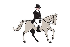 Equestrian Rider Dressage Cartoon