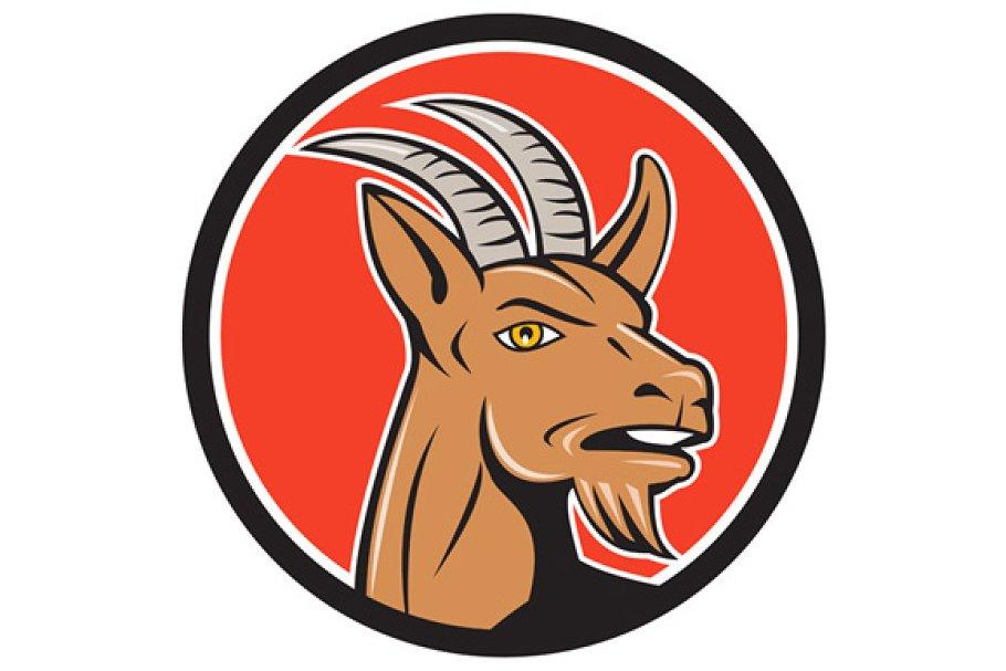 Mountain Goat Head Circle Cartoon