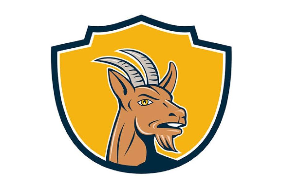 Mountain Goat Head Shield Cartoon in Illustrations