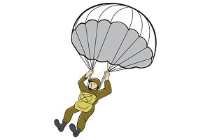 American Paratrooper Parachute Carto