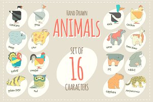 Flat design vector animals icon set