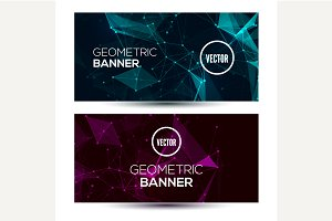 Dark horizontal geometric banners