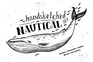 Handsketched nautical set