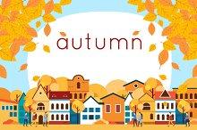 Autumn urban landscape. Flat design.