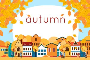 Autumn urban landscape. Flat design.