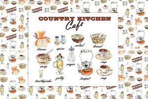 Set Dish. Country kitchen.