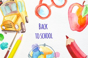"Watercolor ""Back to school set"""