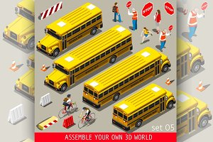 School Bus Vehicle Isometric
